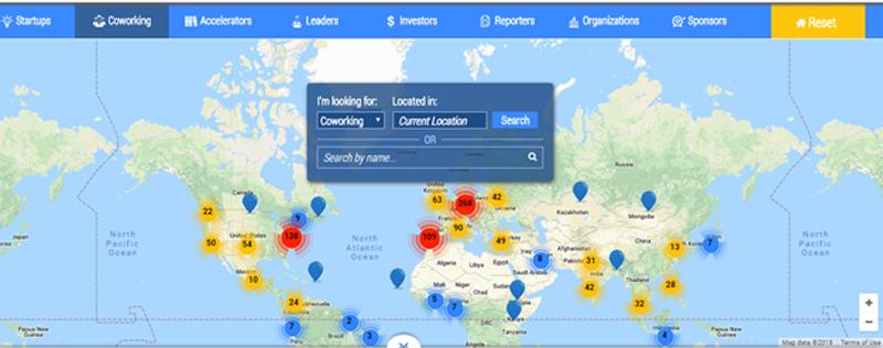 Distribución espacios coworking en el mundo.