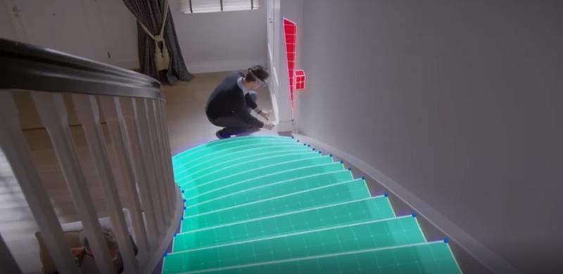 Las herramientas de HoloLens escanea de manera virtual todos los espacios de las escaleras.