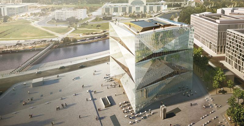 Los cuatro lados del edificio están construidos con 12 elementos de vidrio diferentes que ofrecen una fachada a modo de espejo donde se refleja los alrededores.
