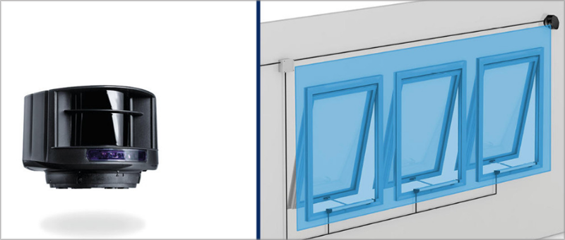 El láser Geze LZR permite monitorear las ventanas o puertas para evitar intrusiones o accidentes.
