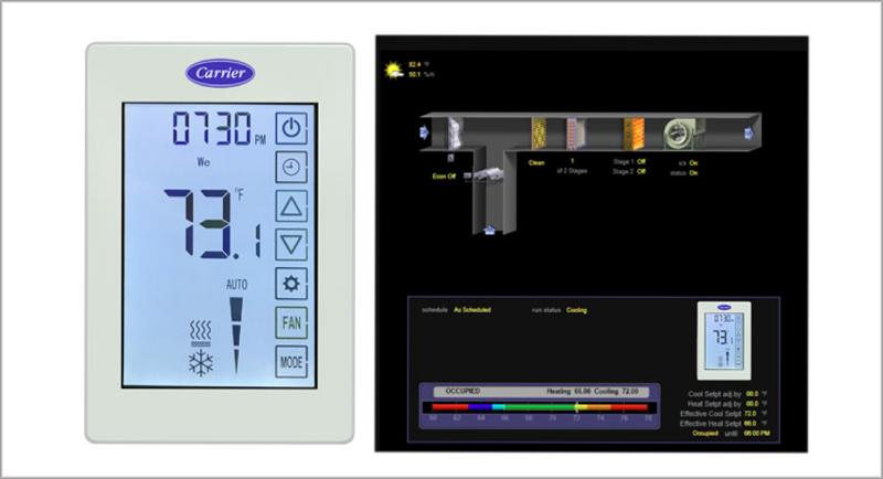 El termostato inteligente ConfortVu de Carrier está basado en BACnet para ofrecer mayor control a la hora de gestionar los equipos HVAC.