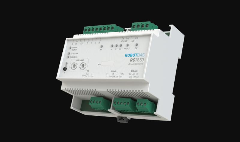 El controlador de habitaciones de ROBOTBAS permite la gestión de la iluminación , así como la climatización tanto de fan-coil como de suelo radiante.