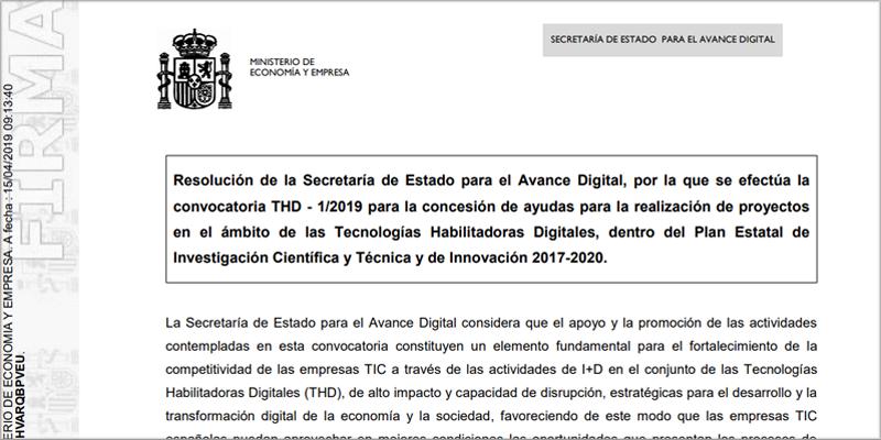 Extracto de la convocatoria de ayudas destinadas a proyectos de I+D en tecnologías habilitadoras digitales.