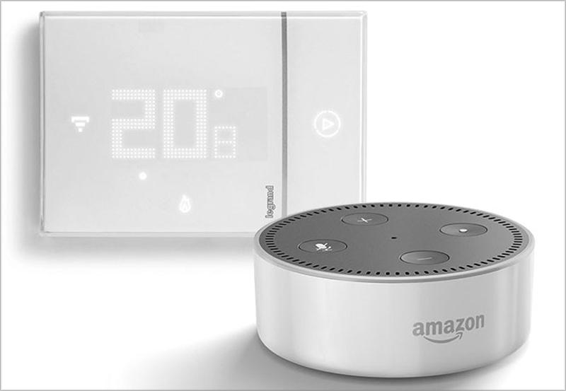 Al igual que los mecanismos de Valena Next, Legrand ha implementado en su termostato inteligente BTicino los comandos por voz compatible con Alexa.