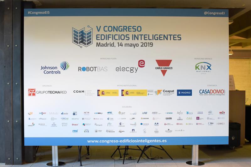 Cartel del V Congreso Edificios Inteligentes.