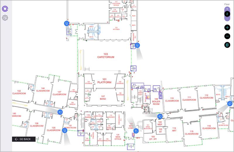 Plano de ActiveShield donde señala los sensores y cámaras de seguridad.