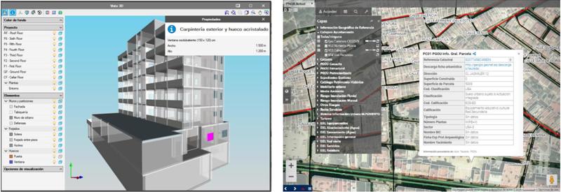 Figura 1. Notables semejanzas entre las tecnologías GIS y BIM. En la dos imágenes podemos observar a la izquierda un desplegable con capas del modelo y a la derecha una etiqueta identificativa de uno de los elementos del Modelo.