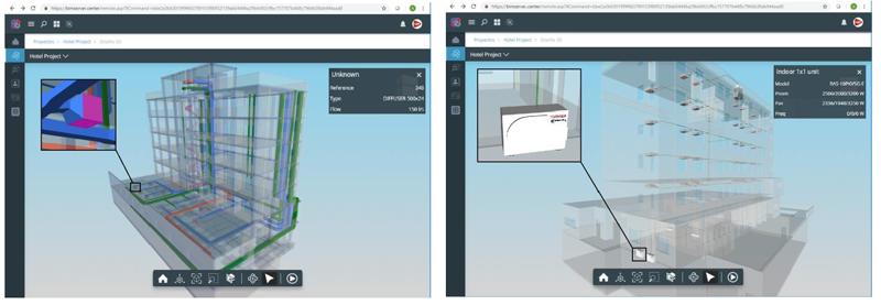 """Figura 2. Ilustración diferencia entre un sistema de HVAC genérico (a la izquierda) y un """"Gemelo Digital"""" de un sistema del fabricante Toshiba (a la derecha) ambos visualizados desde la plataforma www.bimserver.center.com."""