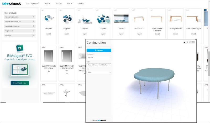 Figura 3. Plataforma web www.bimobjects.com y un objeto disponible en la plataforma.