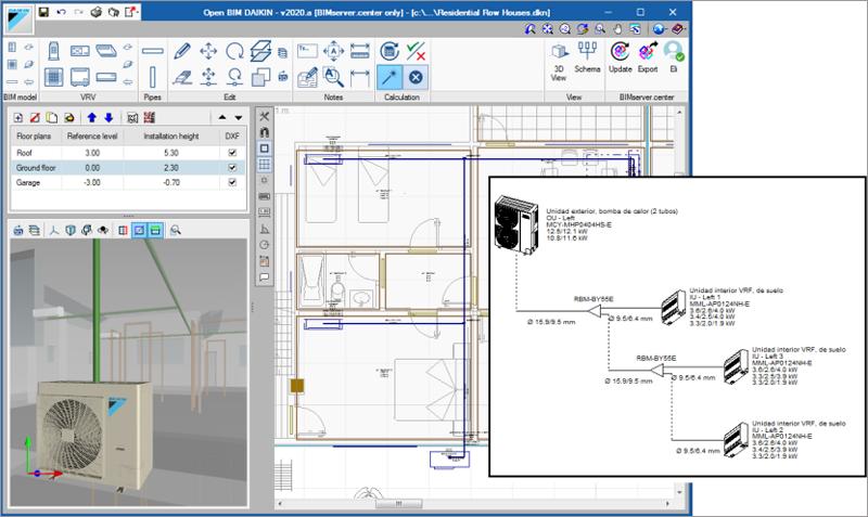 Figura 4. El programa Open BIM Daikin: Un sistema para instalar el aire acondicionado de Daikin en tu modelo BIM, realizar los cálculos y sacar esquemas de distribución.