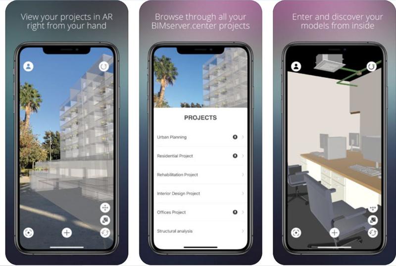 Figura 5. Aplicación de BIMsever Augmented reality donde podemos observar de izquierda a derecha, un edificio situado en una parcela, las diferentes capas del modelo BIM y un interior a escala 1/1.