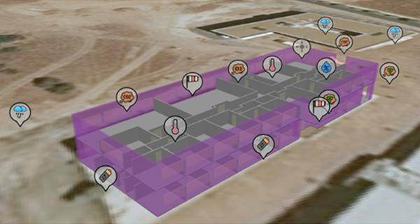 Figura 2. Edificio ITSI - Modelado 3D con sensores.