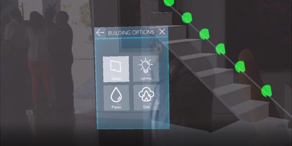 Figura 4. Captura aplicación HoloLens donde se ve un menú y una ruta de escape marcada con puntos verdes.