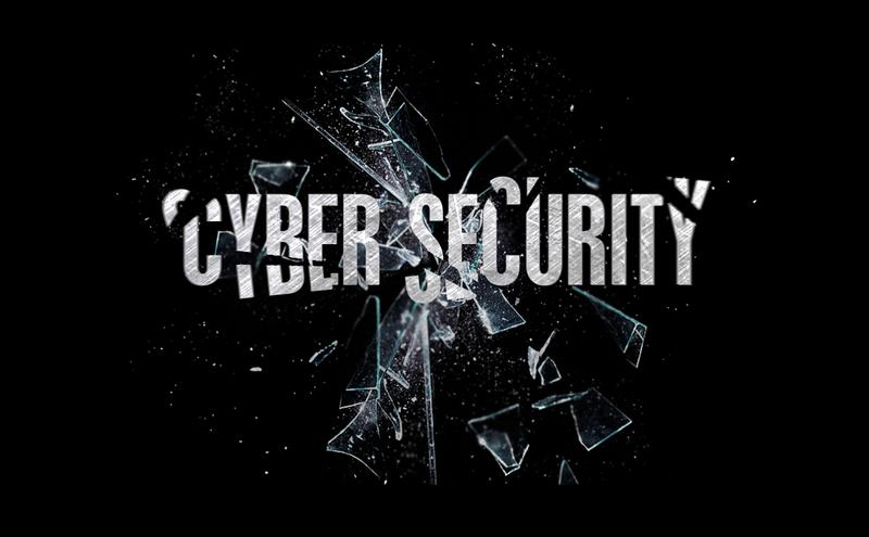 La palabra cibersecurity con un cristal roto de fondo.