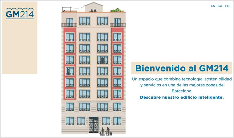 Imagen de un edificio publicitando la promoción de viviendas.