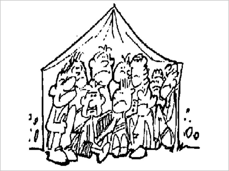 Un dibujo de una tienda de campaña llena de gente.