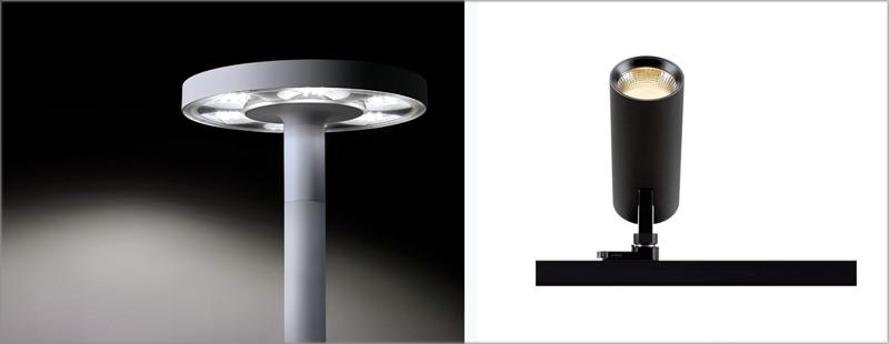 Luminarias de Simon Skat (derecha) y el proyector 740 (izquierda).