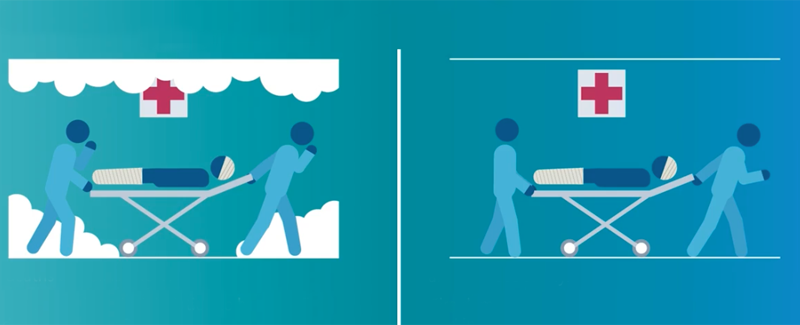 Dibujo de unos enfermeros moviendo una camilla con un paciente durante un incendio.
