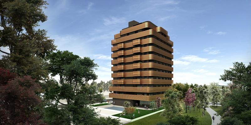 Figura 1. Vista del edificio desde el parque.
