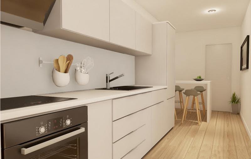 Figura 4. Vista cocina vivienda de dos dormitorios.