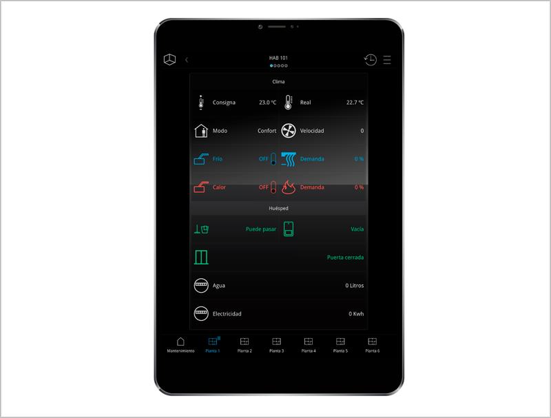 tablet con todos los sistemas domóticos de una de las habitaciones del hotel.