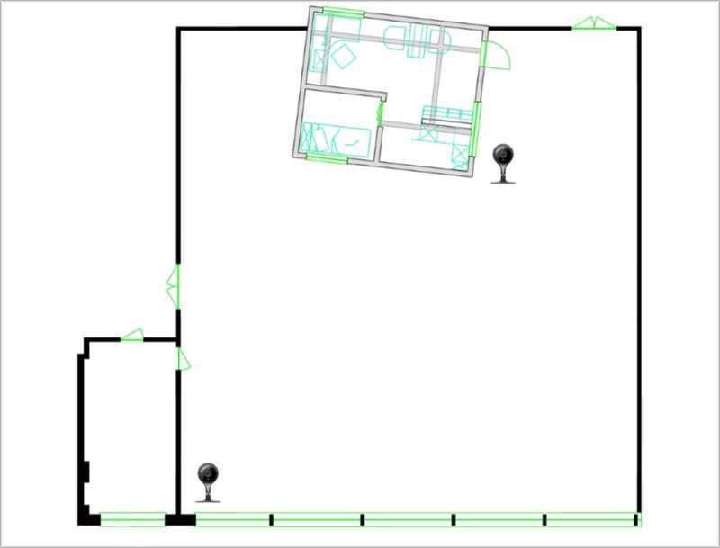 Un plano de la posición de las cámaras de seguridad.