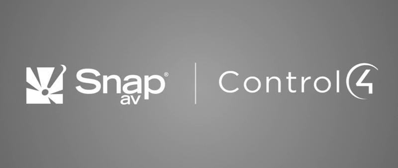 Logos de SnapAV y Control4.