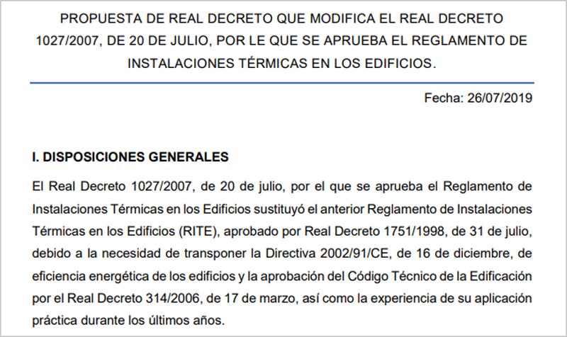 Fragmento de la propuesta de real decreto.