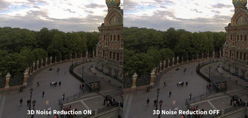 Dos imágenes de la misma plaza aplicación el filtro de reducción de ruido 3D y sin el filtro.