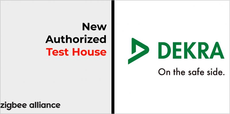 Cartel del anuncio de la Alianza ZigBee sobre la colaboración con el laboratorio de Dekra.