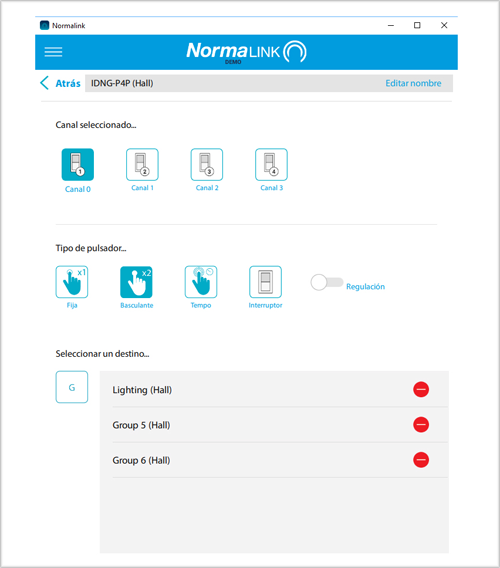 Pantallazo de la aplicación Normalink