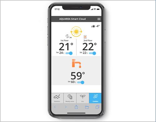 Pantallazo de la aplicación de Aquarea Smart Cloud de Panasonic.