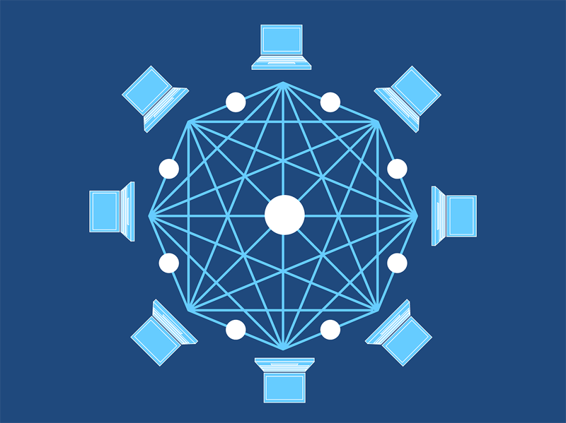 Un dibujo con ordenadores colocados en un circulo y con lineas formando una red.