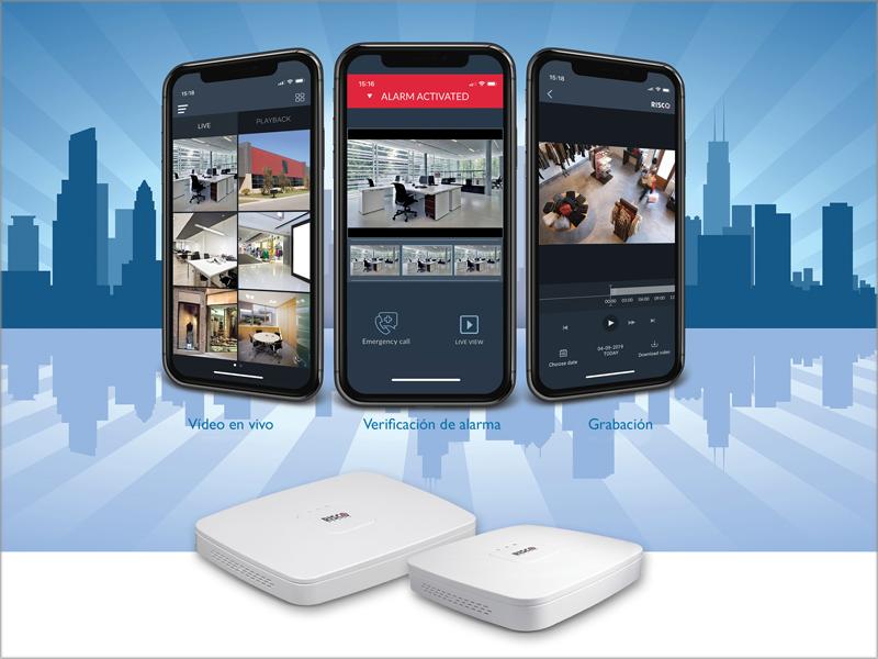 Tres móviles con imágenes de grabación y debajo el NVR VUpoint.