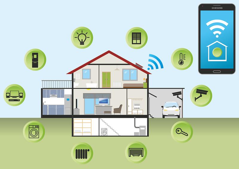 Un dibujo de una casa rodeada de iconos de dispositivos inteligentes y un móvil.