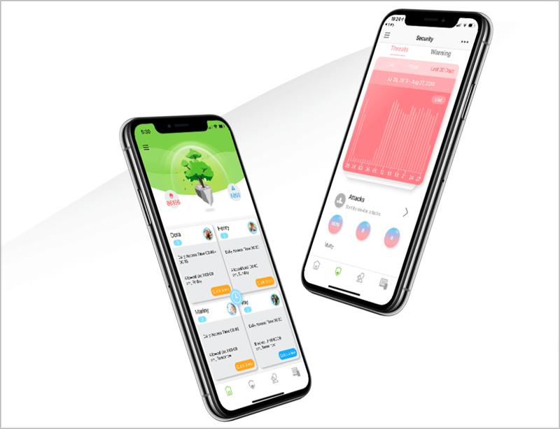 Dos móviles con la aplicación.