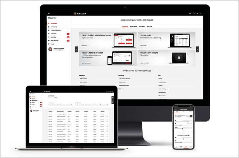 Portal Trilux One en un ordenador, un portátil y un móvil.