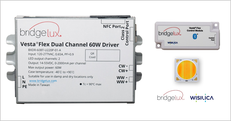Un controlador de iluminación de WiSilica y Bridgelux.