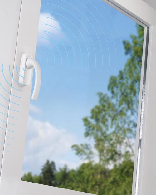 Una ventana con la manilla inteligente eHandle ConnectHome.