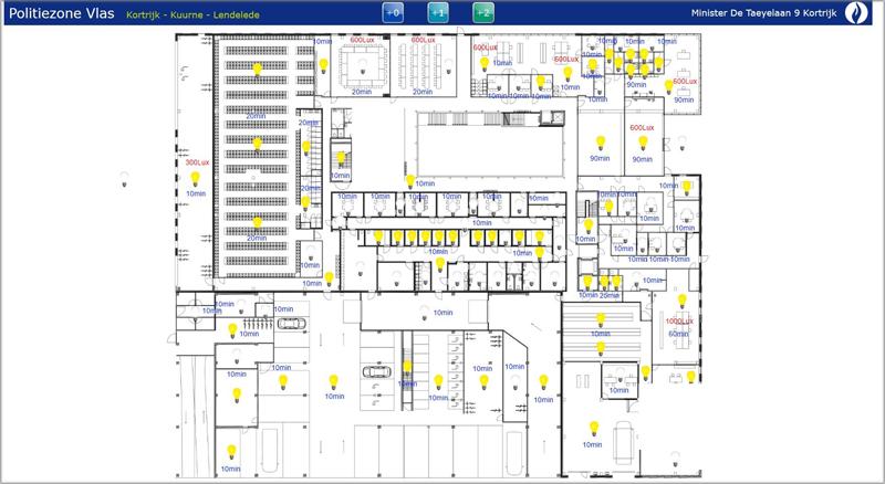 Pantallazo software con las luces en cada sala.