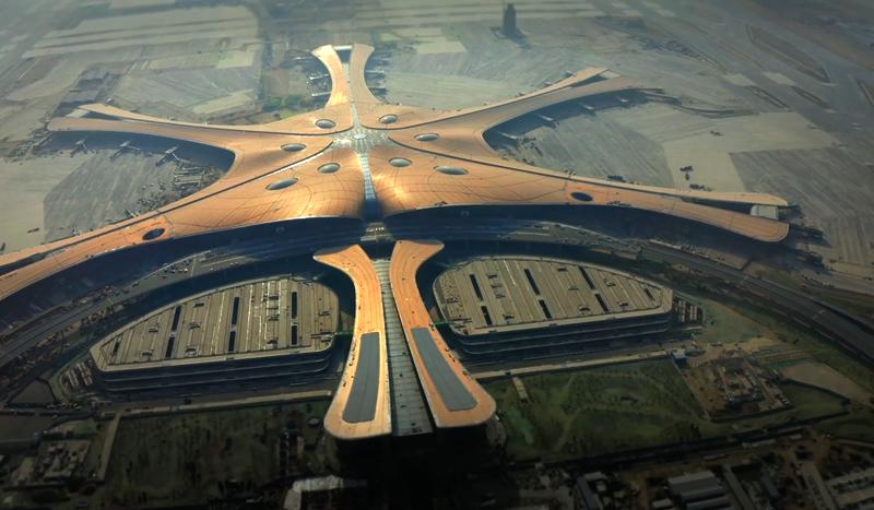 Vista del aeropuerto Daxing, Pekin.