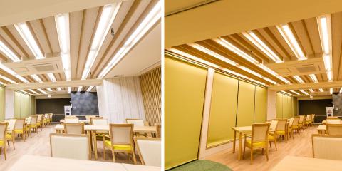 Control de la temperatura de color y del brillo de la luz con un sistema de iluminación de soporte de ritmo