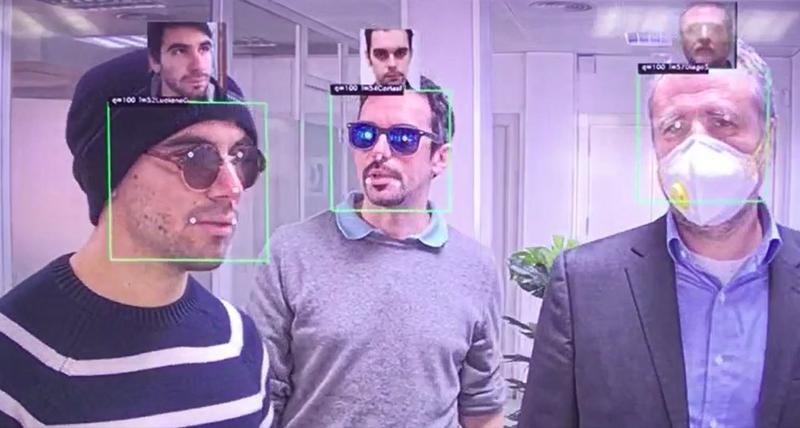Software de algoritmo de reconocimiento facial con mascarilla de Herta.