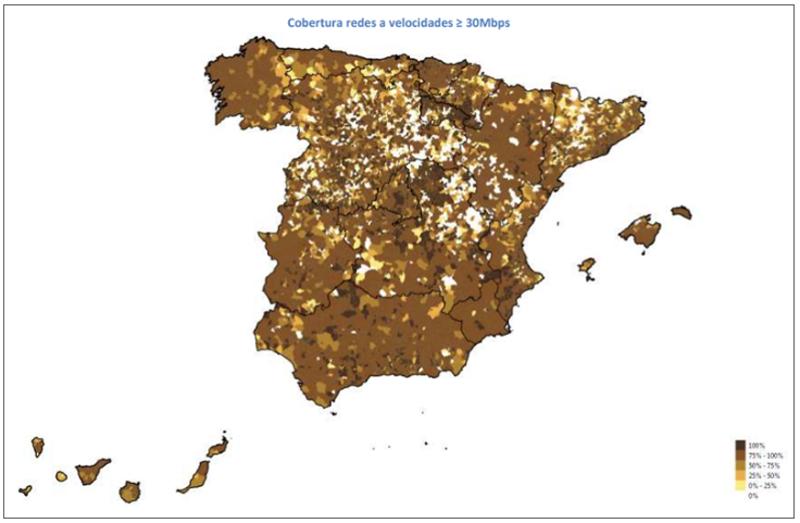 mapa de cobertura de banda ancha a más de 30 Mbps.
