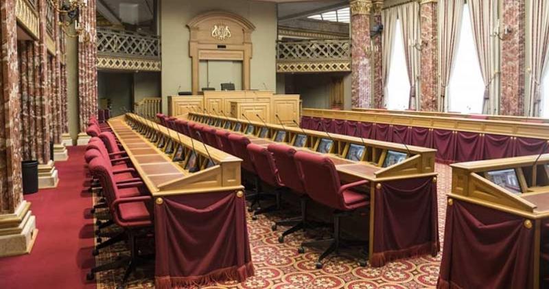 Sistema de conferencia en el Parlamento de Luxemburgo.