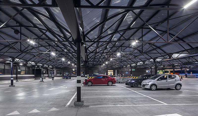 Interior parking.