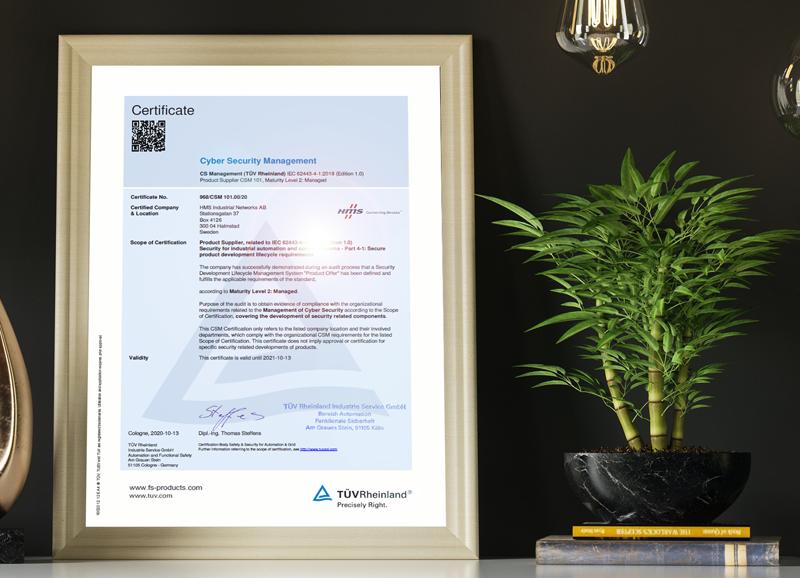 HMS Networks obtiene certificación IEC 62443-4-1.