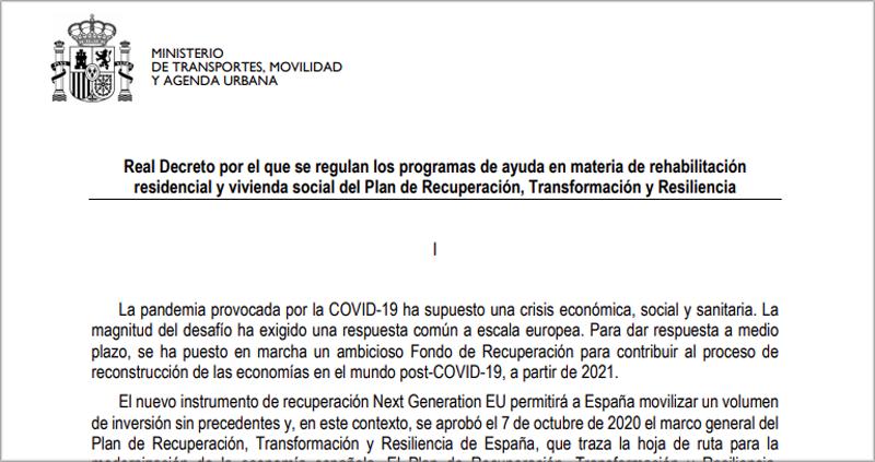 Proyecto del Real Decreto.