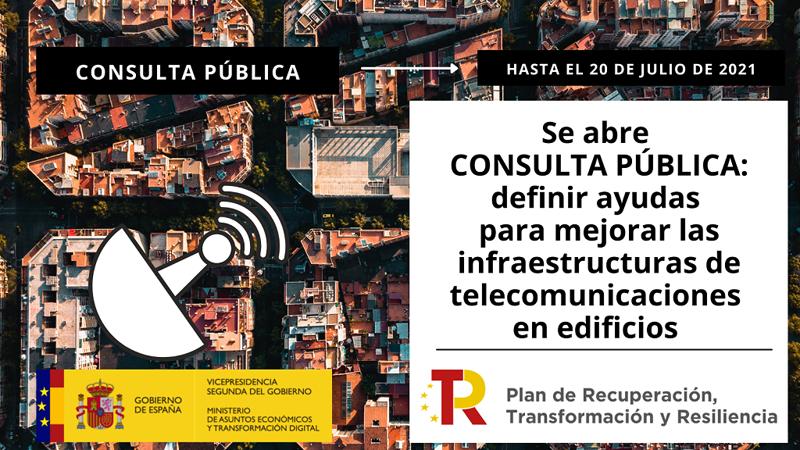 Consulta pública mejora infraestructura telecomunicaciones edificios.