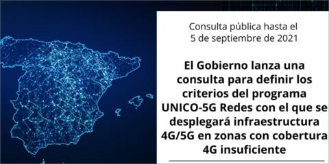 El Programa Unico-5G Redes se somete a consulta pública para mejorar la infraestructura 4G/5G